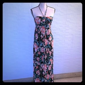 Forever 21 Tropical Floral Print Maxi Halter Dress